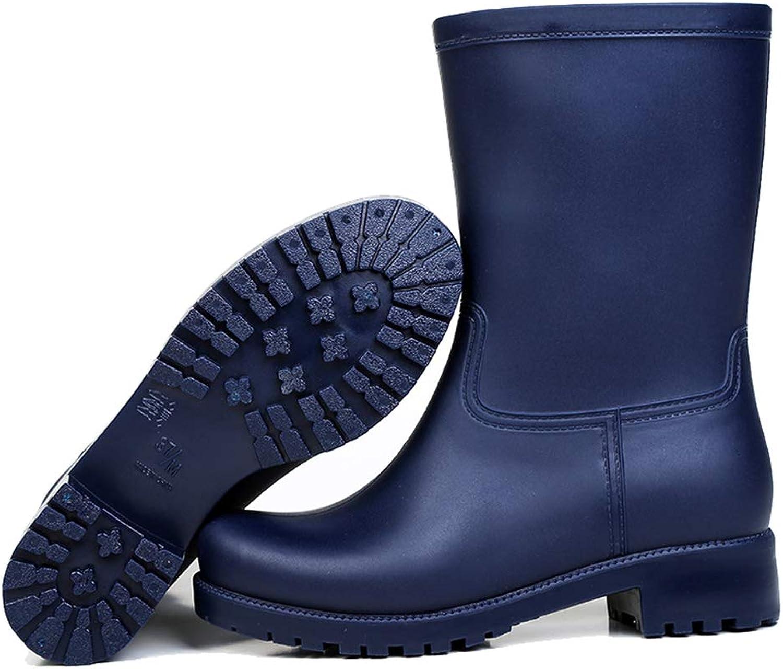 York Zhu Women Rain Boots - Mid-Calf Rain Boots Flat Heels Non-Slip Rainboots