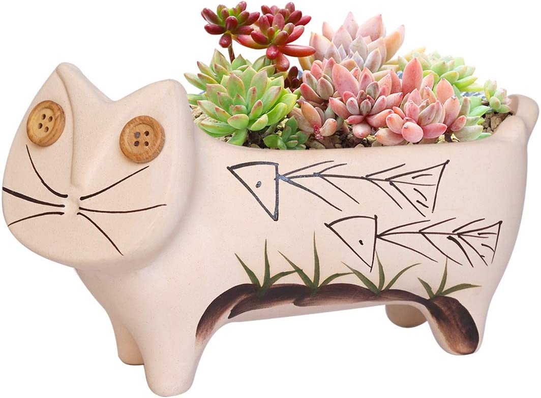 GeLive 7.5 Inch Ceramic Cat Succulent Super sale Popular brand in the world F Animal Pot Plant Planter