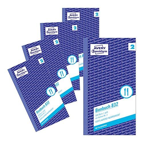AVERY Zweckform 832-5 Bonbuch (Kompaktblock mit je 300 Bons, Kellner-Nr. 2, 2x50 Blatt) 5 Bücher gelb/weiß