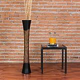 Leewadee Jarrón de Suelo Grande Alto, jarrón Hecho a Mano de Madera de Mango, contenedor de pie para Las Ramas Decorativas, 90 cm, marrón Negro