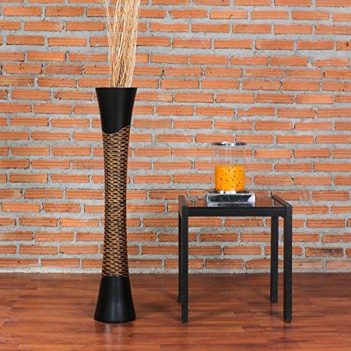 Leewadee Große Bodenvase für Dekozweige hohe Standvase Design Holzvase 90 cm, Mangoholz, schwarz braun