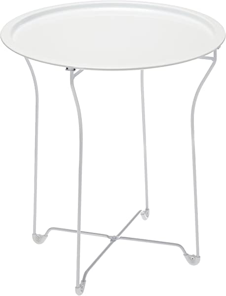 Atlantic UrbSPACE Metal Side Table Stylish Folding Tray Table Sturdy Steel Construction With Wear Resistant Powder Coating PN38436135 In White