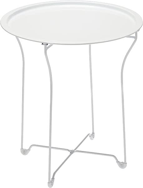 大西洋城市空间金属边桌时尚折叠托盘桌子坚固的钢结构与耐磨粉末涂层 PN38436135 白色