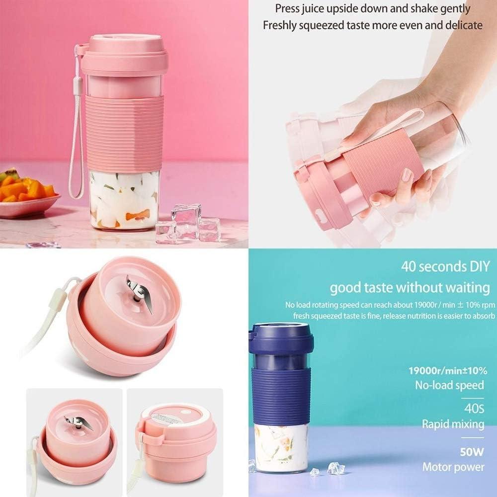 Zoo-yil Lqp-jibaj Recargable Exprimidor jugos Taza multifunción portátil 300ML Jugo de Frutas Blender Mini USB Mezclador de Mezcla Máquina de Batidos (Color : Pink) Pink