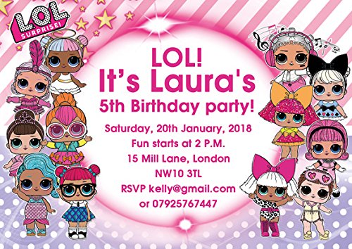 DRAAK 10 x LOL Birthday Party Invitations Invites Girl Children Kids Pack LOL SURPRISE With Envelopes