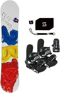 Symbolic 154cm Play 2B1 Red Snowboard Bindings Package +Leash+Stomp+ Burton Decal