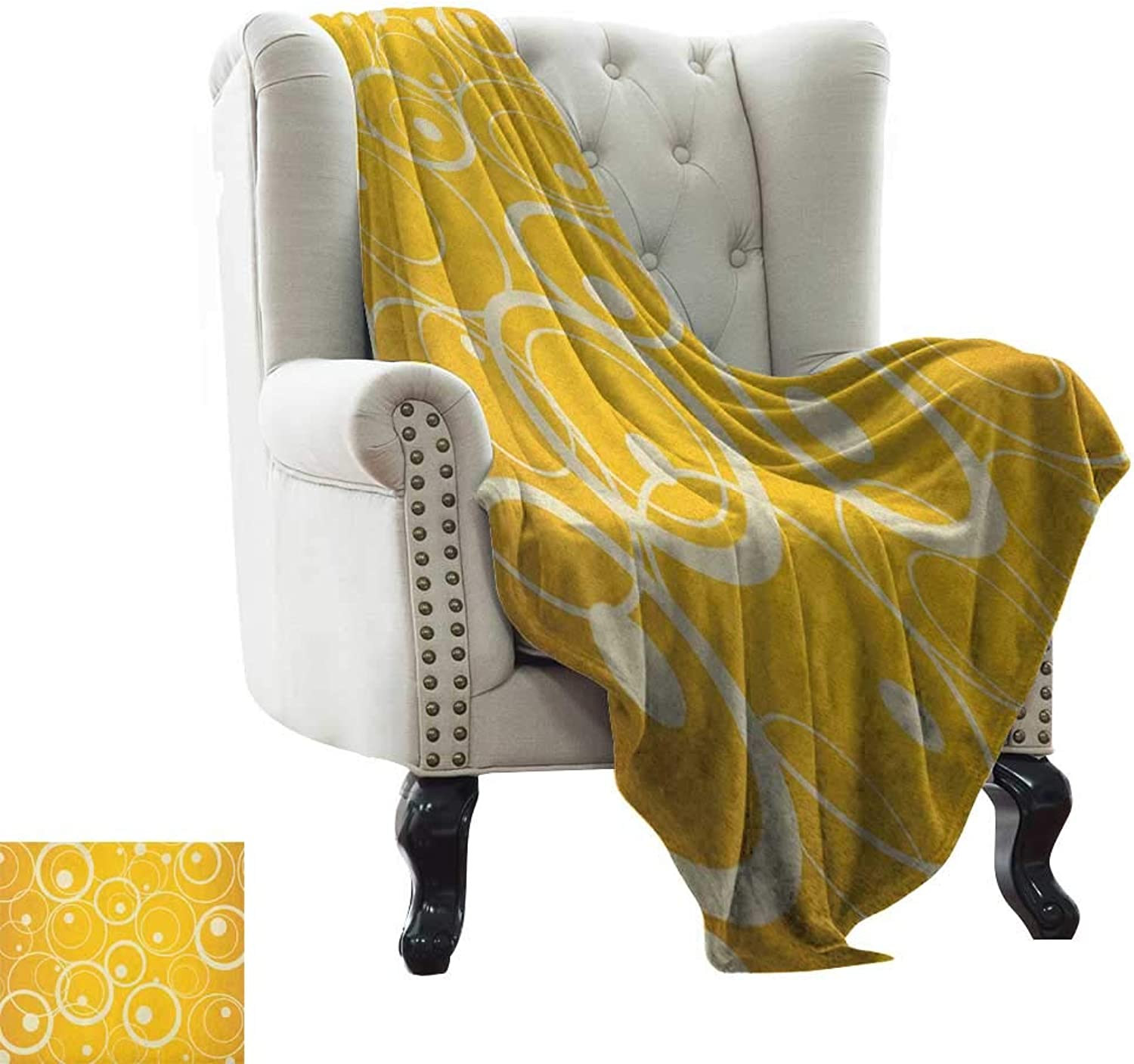 Fur Throw Blanket Vintage Yellow,Circles and Dots Monotone Geometric Shapes with Yellow Background, Yellow Pale Yellow Weighted for Adults Kids, Better Deeper Sleep 35 x60