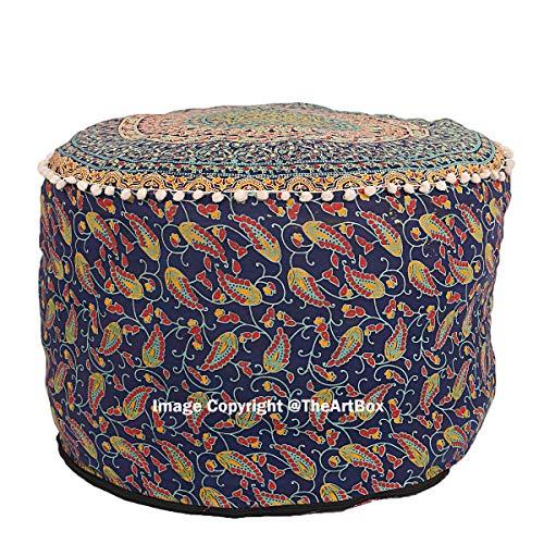 THE ART BOX Indisches Mandala, Dekorativer Ottomanen-Überzug, Fußhocker, runder Boden, Hocker,...