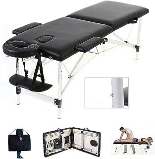 Mobile Massagebank Massageliege Massagetisch Klappbar Massagebett mit 2 Zonen höhenverstellbaren Aluminium-Füßen Kosmetik ...