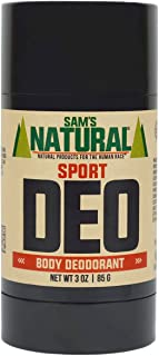 Sam's Natural Deodorant - Aluminum Free - No phthalates, parabens, sulfates, or dyes - Made in New Hampshire - For Men, Women, Unisex - Vegan, Cruelty Free - 3 oz - Sport