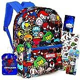 Marvel Kawaii Avengers Backpack Set Boys Girls Kids - 5 Piece Marvel Superhero School Backpack Bag Set with Notebook, Water Bottle, Pencils, Stickers and More (Marvel School Supplies)