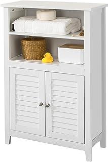 SoBuy BZR13-W Mueble Auxiliar para baño Armario de baño Organizador con 2 estantes y 2 Puertas ES