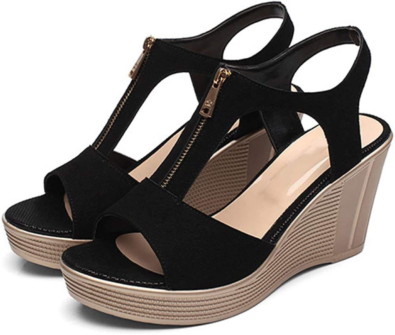 Women's Platform Wedges High Heel Summer Front Zipper Sandals Casual Ladies Solid Soft Sandals