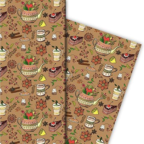 Kartenkaufrausch Kaffee Klatsch Geschenkpapier Set mit Torte, Kaffee und Tee für tolle Geschenk Verpackung, Designpapier, scrapbooking, 4 Bogen, 32 x 48cm, auf beige