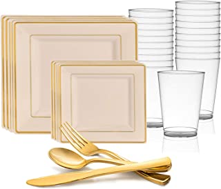 Disposable Plastic Dinnerware Set for 20 Guests - Includes Fancy Square Ivory & Gold Dinner Plates, Dessert/Salad Plates, Silverware Set/Cutlery & Cups For Wedding, Birthday Party & Other Occasions
