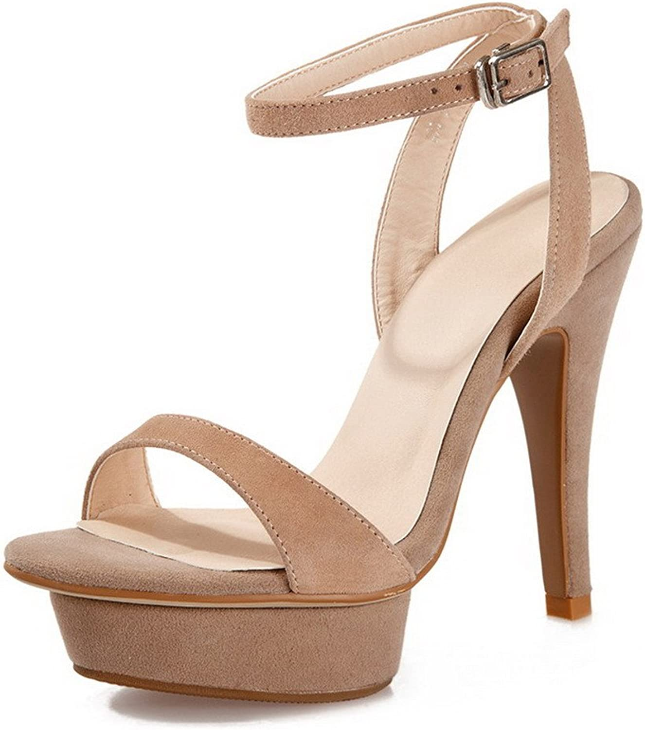 AllhqFashion Women's Solid Frosted High-Heels Open Toe Buckle Sandals