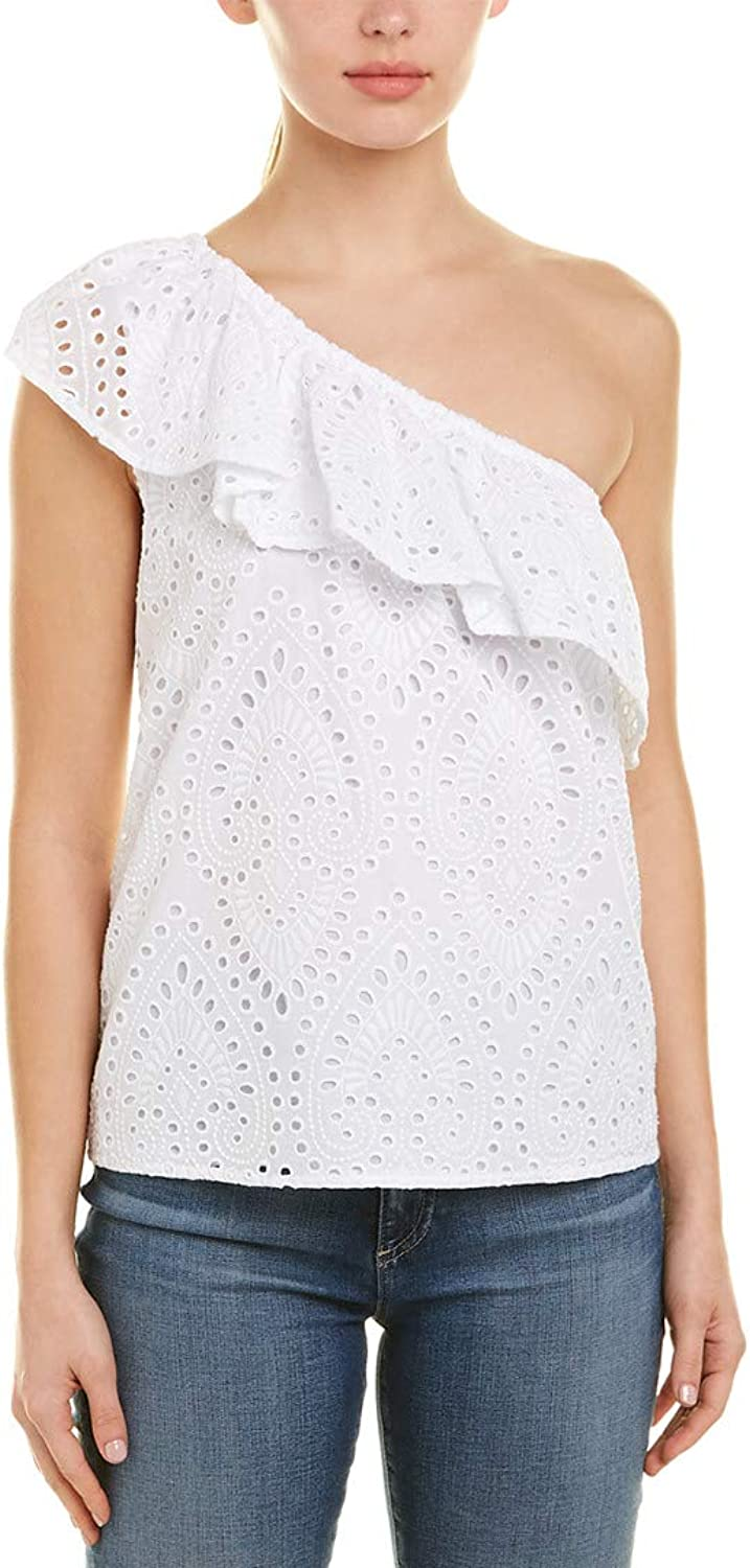 1.State Womens Eyelet One Shoulder Blouse