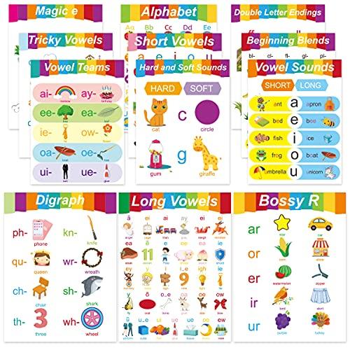 12 English Phonics Language Arts Skills Posters Kindergarten Preschool Learning Poster for Kids Classroom Decorations…