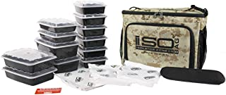 Isolator Fitness 6 Meal ISOCUBE Meal Prep Management Insulated Lunch Bag Cooler with 12 Stackable Meal Prep Containers, 3 ISOBRICKS, and Shoulder Strap - MADE IN USA (Desert)
