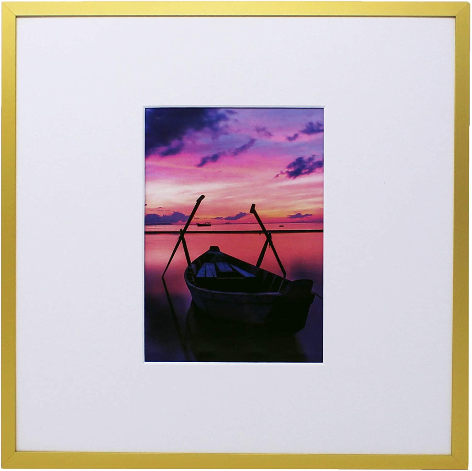 Gold Brushed Aluminum 12x12 Metal Picture Frame with 5x7 Mat - I