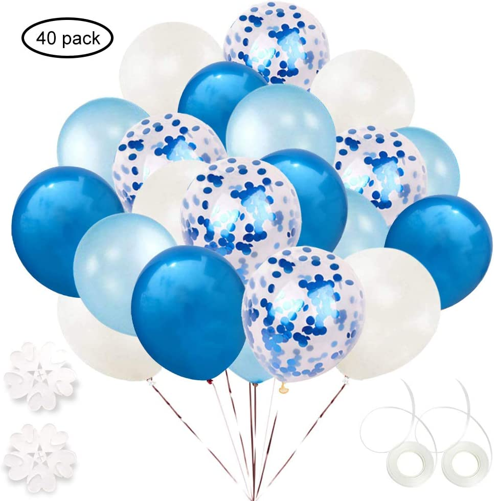 ETLEE Blue Confetti Balloons Set, 40 Pack 12 Inch Latex Balloon