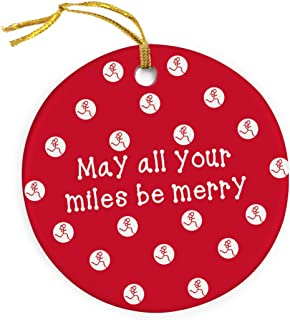 Gone For a Run May All Your Miles Be Merry Ornament | Running Porcelain Ornaments | Red