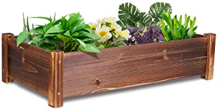 UNHO Wooden Planter Box, Trough Planters Outdoor Large Raised Garden Beds Wood Plant Troughs Container for Veggies Flower ...
