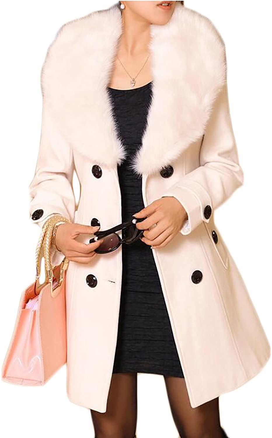 Nanquanwomen clothes NQ Womens Classic Solid Double Breasted Faux Fur Collar Belted Wool Pea Coat