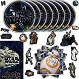 Star Wars Classic Birthday Party Supplies Pack For 16 Guests With Plates, Napkins, Table Cover, 152 Stickers and an Exclusive Porg Pin, by Another Dream