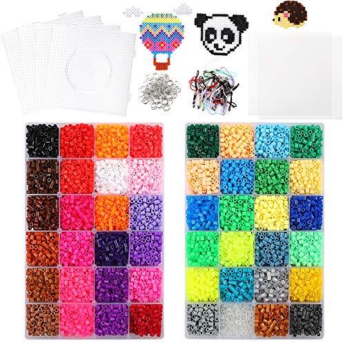 Outuxed 20160 Bügelperlen 48 Farben 5 mm, Fuse Beads Kit Einschließlich 4 Große Viereckige Transparente Nagelbretter, 5 Bügelpapiere, 100 Sprungringe, 50 Bänder, Pinzette-kompatibles Kits