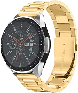 NotoCity 22mm Stainless Steel Metal Watch Band Compatible with Samsung Gear S3/Galaxy Watch (46mm)/Garmin Approach S40/ASUS Zen Watch/for Pebble Time Watch for Mens Womens-Gold