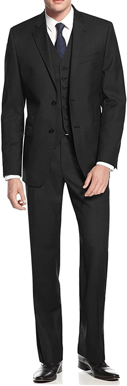 Same day shipping Ranking integrated 1st place Salvatore Exte Men's 2 Button 3 Suit Fit Piece Bla Vested Modern