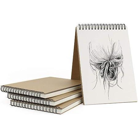VEESUN Bloc de Dibujo A5, 4Pcs Cuadernos de Dibujo Bonitos con Tapa Dura 30 Hojas DIY Libros de Visitas para Escribir Dibujo Adecuado para Lápiz Acuarela Dibujo Escritura Artistas, 160 GMS Apaisado
