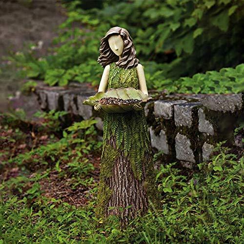 Bird Feeder Stand Sherwood Fern Fairy Statuary - Hummingbird Feeders for Outdoors, Birdfeeders for Hummingbirds Outdoor Decor, Garden Sculptures & Statues, Garden Decor, Fairy Garden (a)