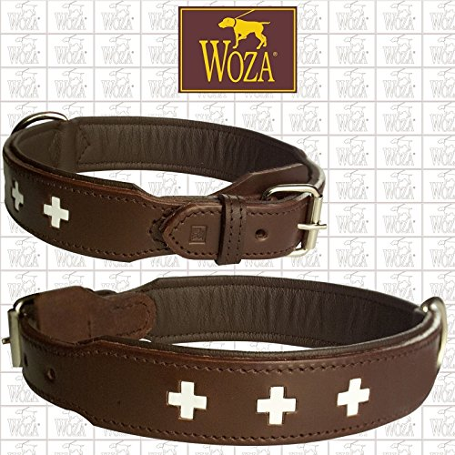 Woza Exclusive Halsband 3,8/60CM Swiss Berner SENNNHUND Vollleder BRAUN Lasche HANDGENÄHT RINDNAPPA Handmade Collar