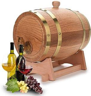 Tonneau de Vin, Chêne en Bois Durable Vintage Tonneau de Vin et Distributeur avec Support Récipient pour Fût à Vin pour St...