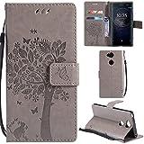 Ooboom® Sony Xperia L2 Hülle Katze Baum Muster Flip PU Leder Schutzhülle Handy Tasche Hülle Cover Standfunktion mit Kartenfächer für Sony Xperia L2 - Grau