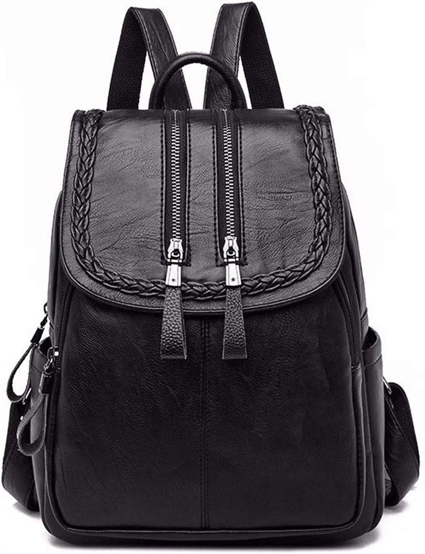 Backpacks for Girls Women Leather Backpacks Preppy Style Vintage Bagpack Travel Rucksacks Black L31cm W26cm Thk11cm