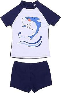 مايوه سباحة للأطفال من إيكوير للأولاد المراهقين، من قطعتين بأكمام قصيرة من عمر 5-16 سنة، طقم ملابس سباحة راش جارد