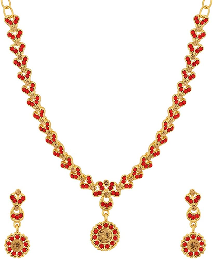 MUCH-MORE Indian Traditional Gold Tone Bridal Necklace Earrings Set Ethnic Wedding Party Fashion Jewelry for Women