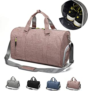 Gym Sports Bag with Separate Shoe Compartment, Travel Duffle Bag for Men and Women,Pink