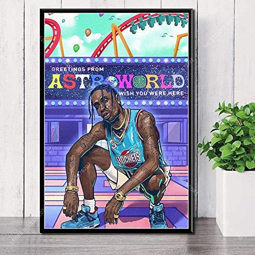 JLFDHR Leinwand Bilder 60x90cm Kunstdekor Travis Scott Hip Hop Rapper Musikstar Astroworld Silk Poster Home Decoration