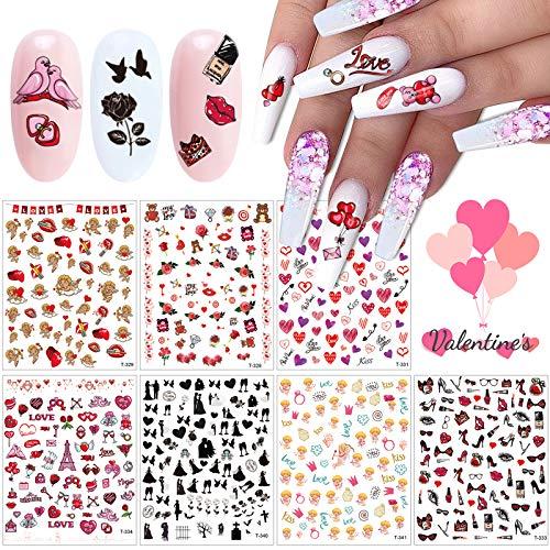 7 Hojas Nail Art Stickers Calcomanías, Kalolary 3D Día de San Valentín Cupido Amor Corazón Labial Uñas Art Pegatinas Autoadhesiva Decorativas para Niñas Mujer Maquillaje Artículos Decoración Manicura