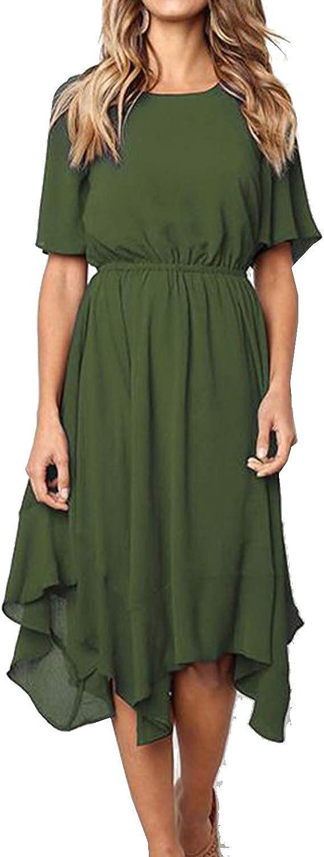 Casuress Summer Women's Casual Short Sleeve Party Midi Dress Swing Knee Length Dresses
