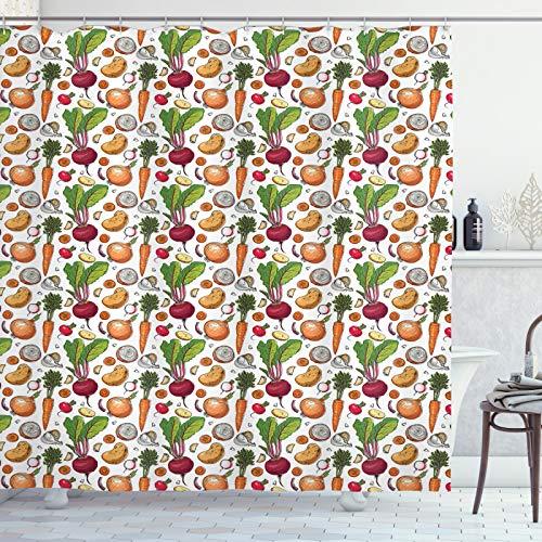ABAKUHAUS Gemüse Duschvorhang, Flüchtiger Painted Foods, Waserdichter Stoff mit 12 Haken Set Dekorativer Farbfest Bakterie Resistet, 175x200 cm, Mehrfarbig