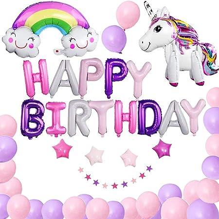 ANGYBEFUN Unicornio Decoracion de Globos de Cumpleaños - Feliz Fiestas Suministros Rose Gold Confetti Globo con Inflador