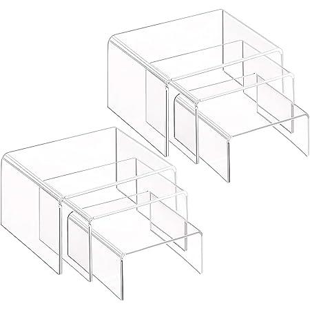 Milaloko Supports d'affichage Transparents en Acrylique, 2 Ensembles de 3 étagères vitrine pour Figurines, buffets, Petits gâteaux et présentoirs à Bijoux, avec Film Protecteur Collant