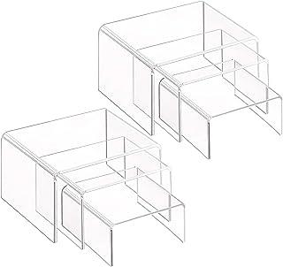 Soportes de exhibición de acrílico transparente, 2 juegos de 3 estantes de exhibición para figuras, buffets, cupcakes y soportes de exhibición de joyería, con película protectora pegajosa