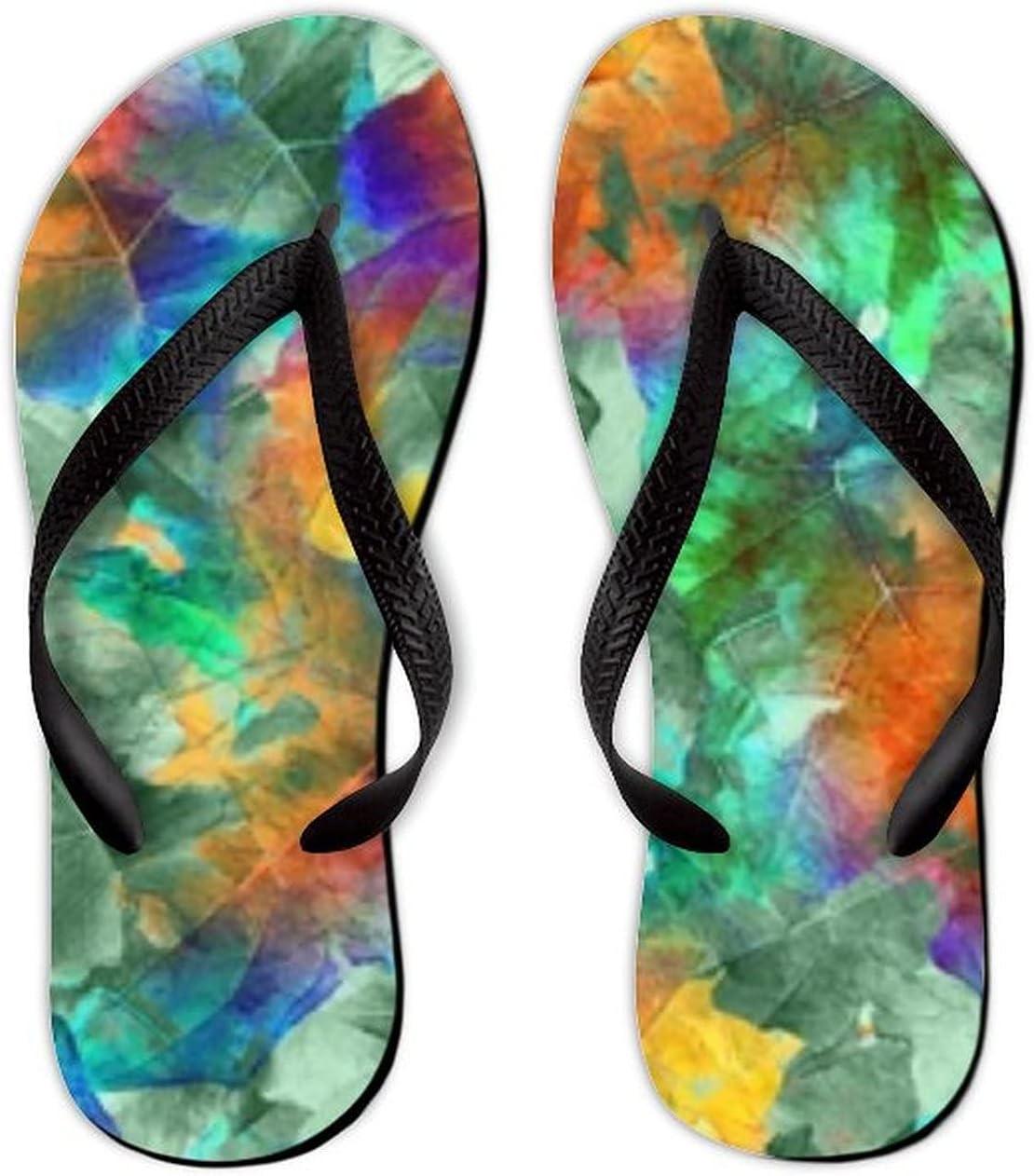 Summer Flip Flops for Max 68% OFF Men Women Li Soft Leaves Colorful 5% OFF Seamless