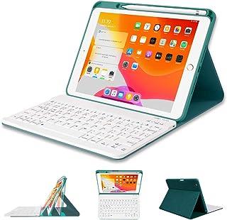 PiMivco iPad キーボード ケース[ペンシルホルダー付き] iPad 10.2第7世代 / 第8世代(2019/2020) ワイヤレスキーボードカバー 着脱式 多角度調整付きケース Apple pencil 収納 全面保護型 傷防止 ...